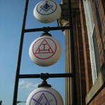 Vinyl on Frosted Glass Masonic Emblems